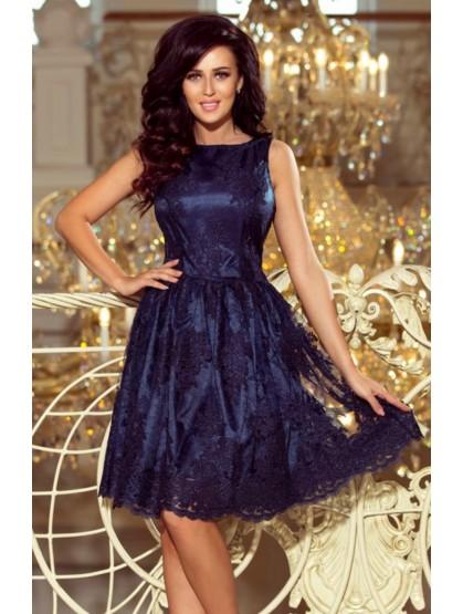Modré čipkované šaty